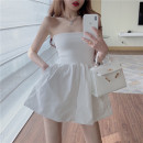 Dress Summer 2021 White, black S, M Middle-skirt singleton  Sleeveless commute other High waist Solid color Socket A-line skirt other Others 18-24 years old Type A Korean version 8840#