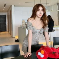 Dress Summer 2020 Floral skirt S, M Middle-skirt singleton  Sleeveless commute One word collar High waist Broken flowers Single breasted A-line skirt puff sleeve Others 18-24 years old Type A Korean version printing