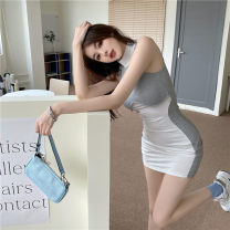Dress Summer 2021 White and grey Average size Short skirt singleton  Sleeveless commute Crew neck High waist Solid color Socket One pace skirt other Breast wrapping 18-24 years old Type A Korean version Splicing 51% (inclusive) - 70% (inclusive) other