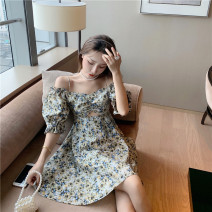 Dress Summer 2020 Bare diamond print Average size Short skirt singleton  Short sleeve commute One word collar High waist Broken flowers Socket A-line skirt puff sleeve camisole 18-24 years old Type A Korean version 6030#