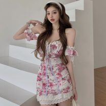 Dress Summer 2021 Decor dress S,M,L Short skirt singleton  Short sleeve commute One word collar High waist Decor Socket One pace skirt Wrap sleeves Breast wrapping 18-24 years old Type A Other / other Korean version Print, lace up