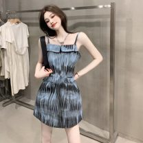 Dress Summer 2021 blue S, M Middle-skirt singleton  Sleeveless commute One word collar High waist Socket A-line skirt other camisole 18-24 years old Type A Korean version pocket 31% (inclusive) - 50% (inclusive) other