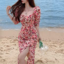Dress Summer 2021 Pink S,M,L longuette singleton  elbow sleeve commute square neck High waist Broken flowers Socket A-line skirt puff sleeve Others 18-24 years old Type A Korean version printing 31% (inclusive) - 50% (inclusive) other