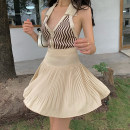 skirt Summer 2021 S,M,L Apricot, white, black Short skirt Versatile High waist Pleated skirt Solid color Type A 18-24 years old 71% (inclusive) - 80% (inclusive) other Other / other polyester fiber Pleated, zipper