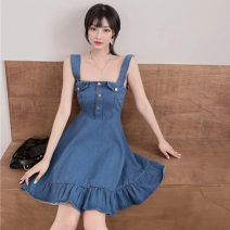 Dress Summer 2021 Picture color S, M Middle-skirt singleton  Sleeveless commute square neck High waist Solid color Socket other other camisole 18-24 years old Type A Korean version
