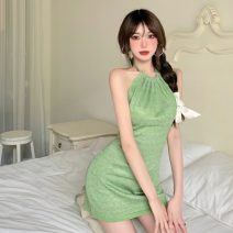 Dress backless Short skirt Sleeveless singleton  commute Crew neck Solid color High waist Condom other 18-24 years old One pace skirt Type A Hanging neck Korean version 7446 Summer 2021 51% (inclusive) - 70% (inclusive) One size fits all
