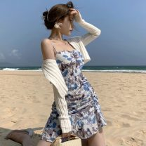 Dress Summer 2021 Pink, blue S, M Short skirt singleton  Sleeveless commute square neck middle-waisted Decor Socket Ruffle Skirt other straps 18-24 years old Type A Korean version Pleating