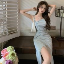 Dress Summer 2021 Gray blue S,M,L longuette singleton  Sleeveless commute other High waist Solid color zipper A-line skirt other camisole 18-24 years old Type H Korean version 2263#