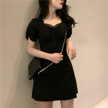Dress Spring 2021 black S,M,L Middle-skirt singleton  Short sleeve commute square neck High waist Solid color Socket A-line skirt other Others 18-24 years old Type A Korean version