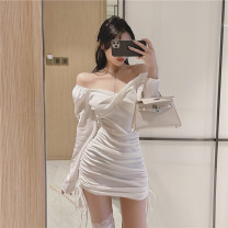 Dress Summer 2021 White, black Average size Short skirt singleton  Long sleeves commute V-neck High waist Solid color Socket One pace skirt routine Others 18-24 years old Type A Korean version Frenulum