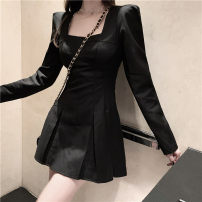 Dress Winter 2020 Gray, black S,M,L Middle-skirt singleton  Long sleeves commute square neck High waist Solid color Socket A-line skirt routine Others 18-24 years old Type A Korean version