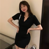 Dress Spring 2021 black Average size Short skirt singleton  Short sleeve commute V-neck High waist Solid color Socket One pace skirt routine Others 18-24 years old Type A Korean version 31% (inclusive) - 50% (inclusive) other