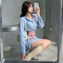 Dress Spring 2021 Blue shirt + waist cover Average size Middle-skirt singleton  Long sleeves commute Polo collar High waist Solid color Single breasted A-line skirt routine Others 18-24 years old Type H Korean version Button 6166# 31% (inclusive) - 50% (inclusive) polyester fiber