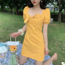 Dress Summer 2020 Blue, yellow, black Average size Short skirt singleton  Short sleeve commute square neck High waist Solid color Socket 18-24 years old Korean version