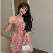 Dress Summer 2021 Picture color Average size Middle-skirt singleton  Short sleeve commute V-neck High waist Broken flowers Socket A-line skirt puff sleeve Others 18-24 years old Type A Korean version other