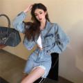 Fashion suit Spring 2021 S,M,L Denim jacket, denim skirt 18-25 years old