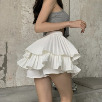 skirt Summer 2021 S,M,L White, black Short skirt commute High waist Cake skirt Solid color Type A 18-24 years old More than 95% Crepe de Chine Other / other nylon fold Korean version