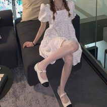Dress Summer 2021 white Average size Short skirt singleton  Short sleeve commute square neck High waist Solid color Socket A-line skirt puff sleeve Others 18-24 years old Type A Korean version