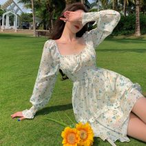 Dress Spring 2021 Floral Dress S, M Middle-skirt singleton  Long sleeves commute square neck High waist Broken flowers Socket A-line skirt other Others 18-24 years old Type A Korean version 9381# polyester fiber
