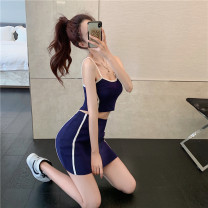 Fashion suit Summer 2021 Average size Blue two-piece set, black two-piece set 18-25 years old 51% (inclusive) - 70% (inclusive) acrylic fibres