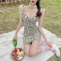 Dress Summer 2021 Picture color S,M,L Middle-skirt singleton  Sleeveless commute V-neck High waist Broken flowers Socket A-line skirt other camisole 18-24 years old Type A Korean version printing