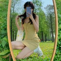 Dress Summer 2021 Baby yellow, baby blue S, M Short skirt singleton  Sleeveless commute square neck High waist lattice Socket One pace skirt other straps 18-24 years old Type A Korean version Lotus leaf edge