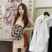 Dress Summer 2021 Apricot with red, black with white Average size Middle-skirt singleton  Sleeveless commute Crew neck High waist Solid color Socket One pace skirt routine 18-24 years old Type A Korean version Splicing 51% (inclusive) - 70% (inclusive) knitting