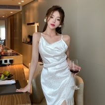 Dress Summer 2021 white Average size longuette singleton  Sleeveless commute High waist Animal pattern Socket One pace skirt other camisole 18-24 years old Type A Korean version