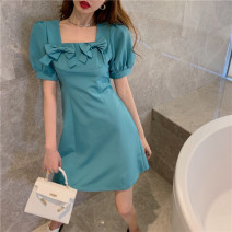 Dress Summer 2021 Malachite blue S, M Middle-skirt singleton  Short sleeve commute One word collar High waist Solid color Socket A-line skirt puff sleeve Others 18-24 years old Type A Korean version bow 6855#