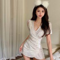 Dress Summer 2021 Off white M, L Short skirt singleton  Short sleeve commute V-neck High waist Decor Socket Irregular skirt Others 18-24 years old Type A Korean version Lace