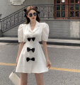 Dress Summer 2021 Black, white S, M Middle-skirt singleton  Short sleeve commute tailored collar High waist other Single breasted A-line skirt other Others 18-24 years old Type A Korean version 9367#