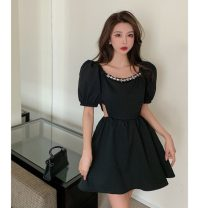 Dress Summer 2021 White, black M, L Middle-skirt singleton  Short sleeve commute other High waist Solid color Socket A-line skirt puff sleeve Others 18-24 years old Type A Korean version Hollowed out, inlaid with diamond and nailed beads
