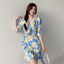 Dress Spring 2021 Picture color S,M,L Middle-skirt singleton  elbow sleeve commute V-neck High waist Decor Socket A-line skirt puff sleeve 18-24 years old Type A Korean version printing 51% (inclusive) - 70% (inclusive) Chiffon polyester fiber