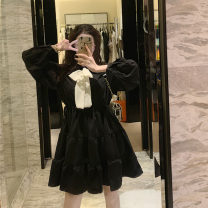 Dress Autumn of 2019 White, black M, L Mid length dress Long sleeves commute 18-24 years old Korean version