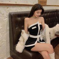 Dress Summer 2021 Irregular dress S, M Short skirt singleton  commute One word collar High waist Solid color zipper Irregular skirt Breast wrapping 18-24 years old Type H Other / other Simplicity Bowknot, stitching, asymmetry, button, zipper More than 95% brocade cotton