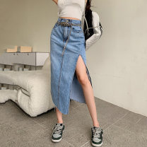 skirt Summer 2021 S,M,L,XL blue Mid length dress commute High waist Denim skirt Solid color Type A 18-24 years old 0088# Denim cotton Korean version