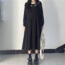 Dress Winter 2020 black S,M,L,XL,2XL longuette singleton  Long sleeves Sweet Admiral Loose waist Solid color Socket A-line skirt routine Others 18-24 years old Type A Tagkita / she and others Stitching, buttons, lace up 51% (inclusive) - 70% (inclusive) Chiffon acrylic fibres solar system