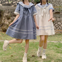 Dress Summer 2021 Blue, white S,M,L,XL,2XL Mid length dress singleton  Short sleeve Sweet Admiral Loose waist Solid color Socket A-line skirt routine straps 18-24 years old Type A Tagkita / she and others Stitching, bowknot, three-dimensional decoration, lace up, color matching Tongtong home other