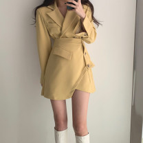 Dress Spring 2020 Yellow, black S,M,L Short skirt Fake two pieces Long sleeves commute tailored collar low-waisted Solid color double-breasted Irregular skirt routine Type A BEYONDIF Korean version Pockets, panels, buttons BYF20021314