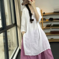 Dress Summer 2021 White, red, pink Average size Mid length dress singleton  three quarter sleeve commute V-neck Loose waist Solid color Socket A-line skirt routine Type A Retro Button ZM015 - two More than 95% other hemp