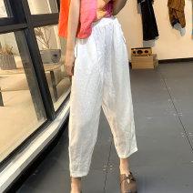 Casual pants Average size Summer 2020 Ninth pants loose  Natural waist Versatile Thin money 96% and above D585 hemp hemp