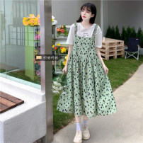 Women's large Summer 2021 green Size M (90-100kg), l (100-120kg), XL (120-140kg), 2XL (140kg-160kg), 3XL (160kg-180kg), 4XL (180kg-200kg) Dress Two piece set commute thin Socket Short sleeve Broken flowers Korean version Crew neck Medium length routine xz/jr 18-24 years old Medium length