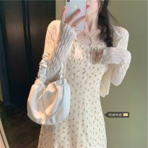Dress Broken flower Summer 2021 camisole Long sleeve Two piece set commute square neck High waist 18-24 years old Type A Korean version Medium length skirt xz/xz Lace stitching
