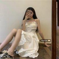 Dress Summer 2021 Black, white S (recommended 80 ~ 90 kg), m (recommended 90 ~ 100 kg), l (recommended 100 ~ 110 kg), XL (recommended 120 ~ 140 kg), 2XL (recommended 140 ~ 160 kg), 3XL (recommended 160 ~ 180 kg), 4XL (recommended 180 ~ 200 kg) Mid length dress singleton  Long sleeves commute routine