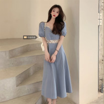 Dress Summer 2021 blue S (80-90 kg), m (90-100 kg), l-plus (100-120 kg), XL (120-140 kg), 2XL (140-160 kg), 3XL (160-180 kg), 4XL (180-200 kg) Mid length dress singleton  Short sleeve commute square neck puff sleeve 18-24 years old Korean version Button zz/jr