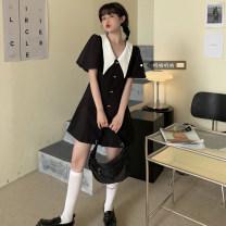 Women's large Summer 2021 black L (100 ~ 120 kg), XL (120 ~ 140 kg), 2XL (140 ~ 160 kg), 3XL (160 ~ 180 kg), 4XL (180 ~ 200 kg) Dress singleton  commute thin Socket Short sleeve Solid color Korean version other polyester routine xz/yt 18-24 years old Short skirt other