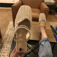 slipper 35,36,37,38,39 Jie Shiqi Flat bottom Low heel (1-3cm) Rattan grass Summer of 2018 Baotou rubber daily Sweet Adhesive shoes Youth (18-40 years old) Solid color Roman style PU PU Frosting