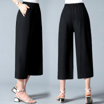 Middle aged and old women's wear Summer 2020 black XL [90-105 Jin recommended], 2XL [105-120 Jin recommended], 3XL [120-135 Jin recommended], 4XL [135-150 Jin recommended], 5XL [150-165 Jin recommended] leisure time trousers easy singleton  other 40-49 years old thin New European clothes pocket