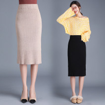 skirt Winter of 2019 Black, grey, apricot Mid length dress Versatile Natural waist A-line skirt Solid color Type A 30-34 years old More than 95% New European clothes