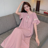 Nightdress Other / other Wx-206 # bean paste powder, wx-206 # bean green, wx-206 # gray, wx-206 # black 160(M),165(L),170(XL),175(XXL) Sweet Short sleeve Leisure home Middle-skirt summer Solid color youth square neck cotton lace Thread cloth 206# 200g and below